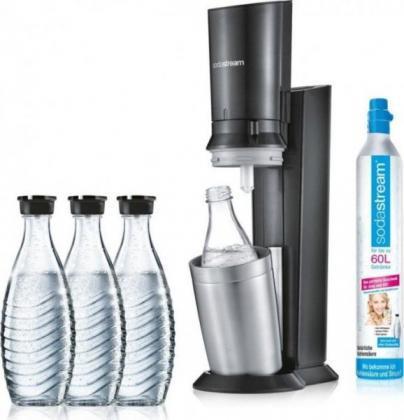 SodaStream Crystal 2.0 schwarz Trinkwassersprudler mit 3 Glaskaraffen